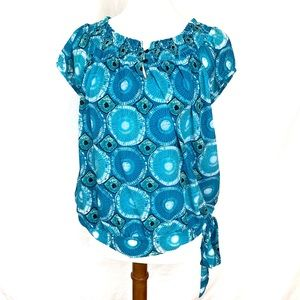 ⭐️ 3 for $25 INC short smocked neck blouse w/ tie
